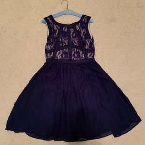 Blue Formal Wear Dress with Lace Top